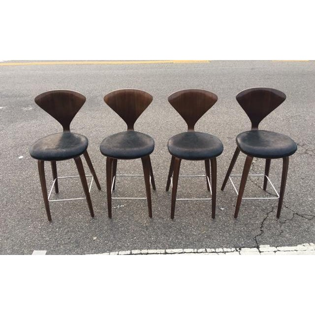 Norman cherner for plycraft counter stools set of 4 chairish - Norman cherner barstool ...