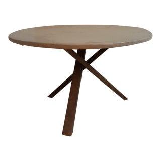 Round Concrete Cherry Legged Coffee Table