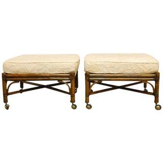 McGuire Bamboo Rattan Ottomans & Cushions - a Pair