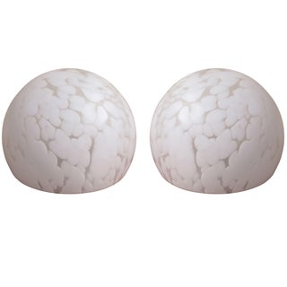Domed Italian Spotted Glass Table Lamps - A Pair