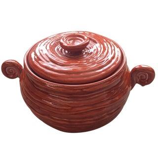 Vintage USA Orange Pottery Handled & Lidded Pot