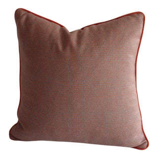 Grey & Orange Plaid Pillow in Ralph Lauren Fabric