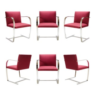 Mies Van Der Rohe for Knoll Brno Flat-Bar Chairs in Merlot Herringbone Wool, S/6