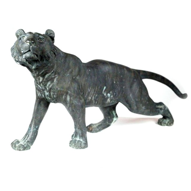 Antique Patinated Bronze Tiger Japan - Image 1 of 7