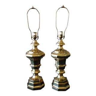Solid Brass Ethan Allen Table Lamps - Pair