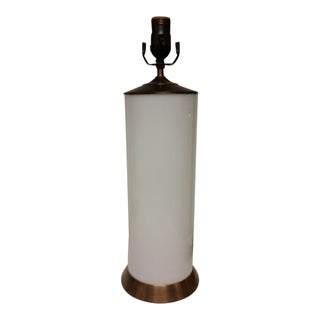 White Glass With Antique Gold Finish Table Lamp