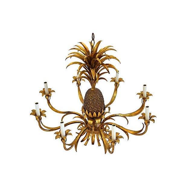8-Light Tole Pineapple Chandelier - Image 2 of 3