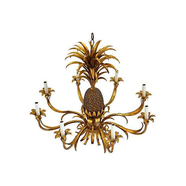 Image of 8-Light Tole Pineapple Chandelier