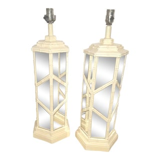 White Faux Bamboo & Mirrored Palm Beach Regency Lamps - A Pair