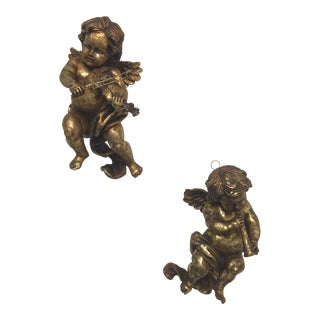 Vintage Wall Hanging Cherubs - A Pair
