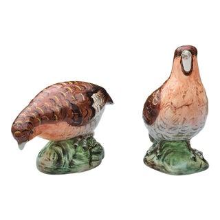Mid-Century Porcelain Quail Figurines - a Pair