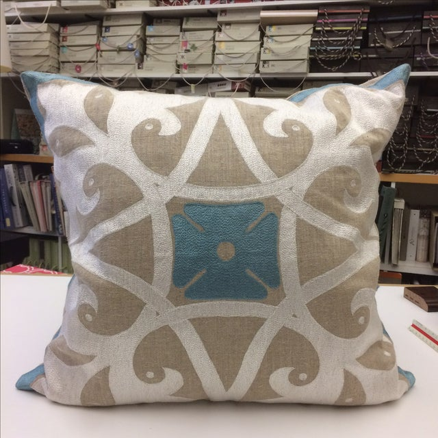 Heathrow Embroidered Linen Pillow Cover - Image 2 of 5