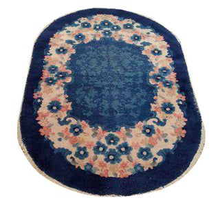 3′ × 4′10″ Antique Chinese Oval Hand Made Knotted Rug - Size Cat. 3x5