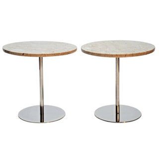Nico Zographos Marble and Polished Steel Side Tables