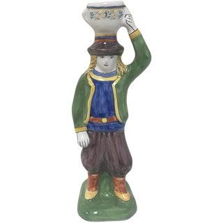 Quimper Breton Boy Candlestick
