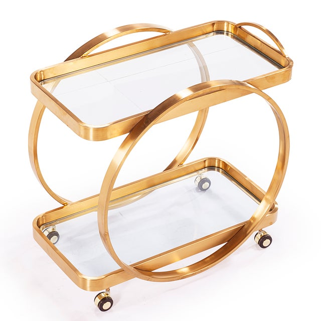 Golden Steel Bar Cart With Glass Shelves & Rolling Casters - Image 2 of 4