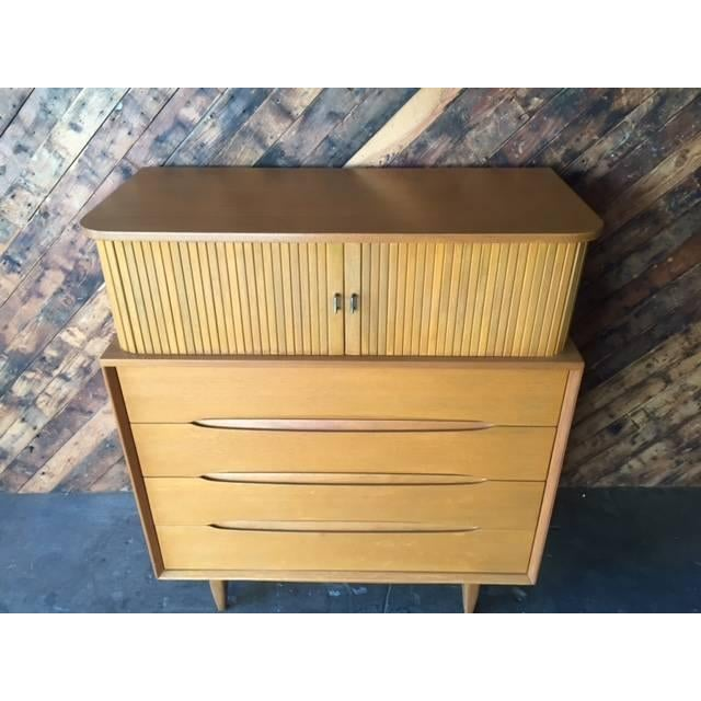 Brown Saltman Mid-Century Tambour Highboy Dresser - Image 6 of 7