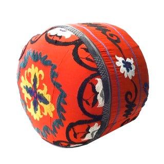 Orange Uzbek Suzani Ottoman