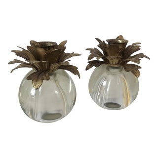 Lucite Pineapple Candleholders - A Pair
