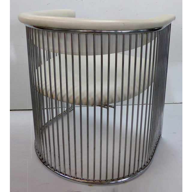 Image of Mid-Century Chrome Barrel Chairs - A Pair