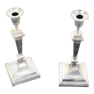 Pair of Square Base Art Deco Sterling Candle Sticks