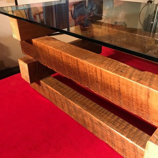4 x 4 Wood Base Coffee Table - Image 3 of 6