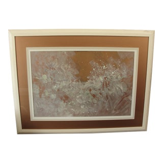 Barbara Krupp White Iridescent on Bronze Abstract Painting