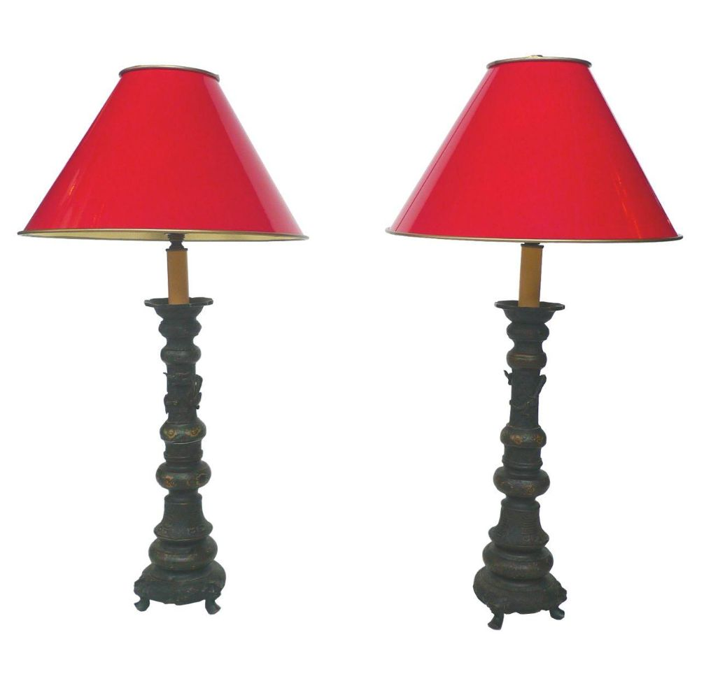 Chinese Candlestick Lamps - A Pair
