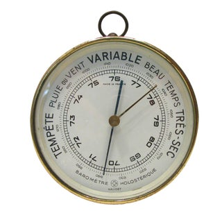 Vintage French Brass Barometer