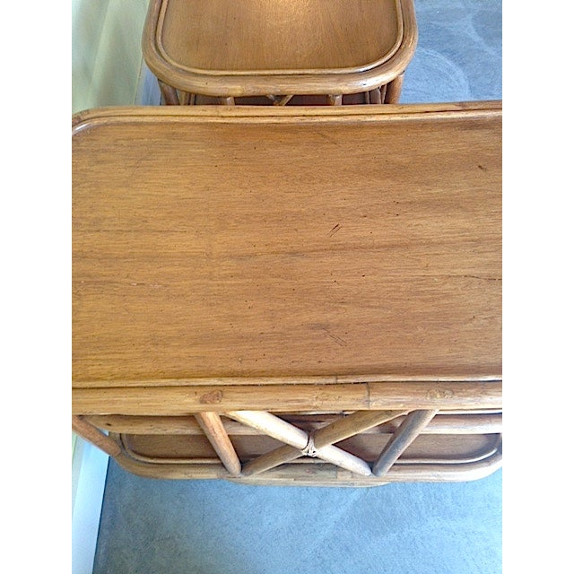 Mid Century Bamboo Swiveling End Table - Pair - Image 4 of 4