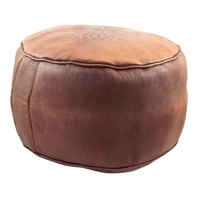 Brown Moroccan Leather Pouf - Image 1 of 6