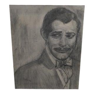 Clark Gable Original Pencil Drawing on Canvas