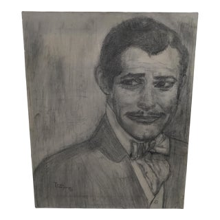 Clark Gable Original Pencil Drawing on Canvas