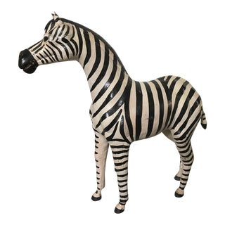 Vintage Hand Painted Leather Wrapped Zebra Statue