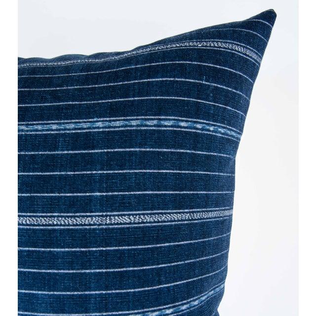Vintage Striped Ikat Indigo Pillow - Image 2 of 8