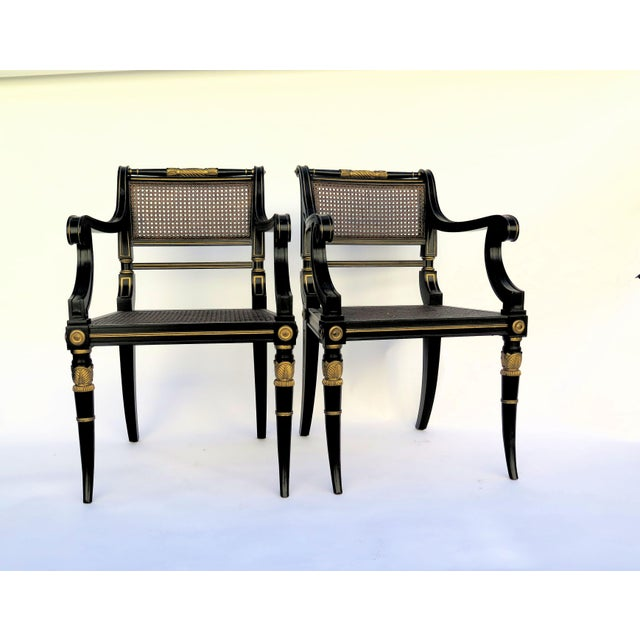 Baker Mahogany Caned Chairs - a Pair - Image 7 of 7