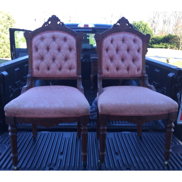 Vintage Victorian Chairs, Pink Upholstery - Pair - Image 7 of 9