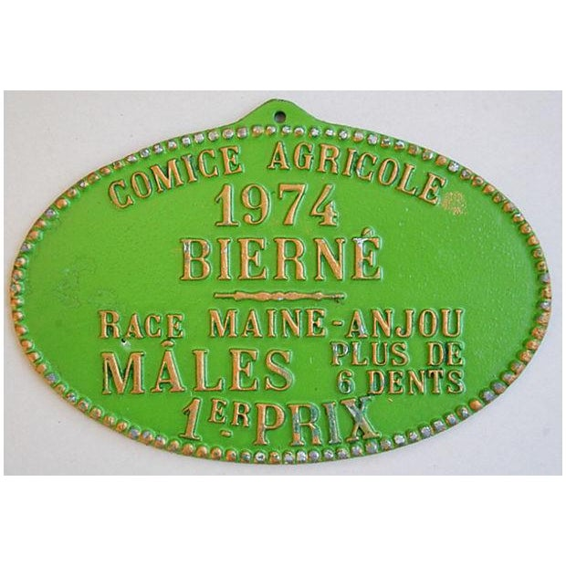 Image of 1974 Lime Green French Trophy/Award Price Plaque