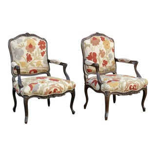 18th Century Walnut Fauteuil Chairs from France, Pair