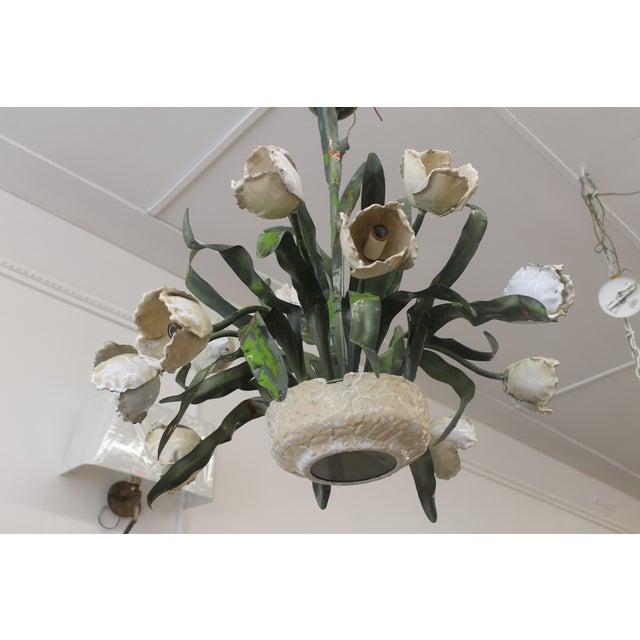 Vintage Ceramic Tulips Chandelier - Image 5 of 6