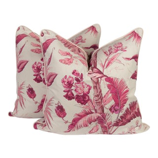 Custom Palm Leaf Raspberry Pillows - A Pair