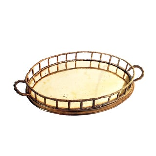 Vintage Brass Faux Bamboo Bar/Vanity Tray