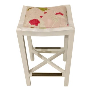Lee Industries White Maple & Pink Floral Fabric Bar Stool