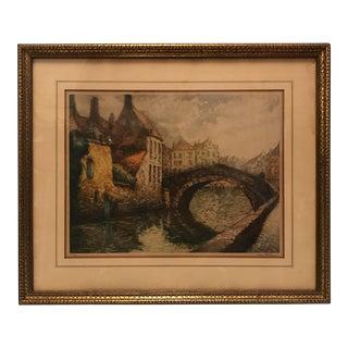 Apres Van Walen Vintage Lithograph of Bruges
