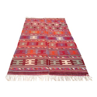 Vintage Turkish Kilim Rug - 5′1″ × 8′8″