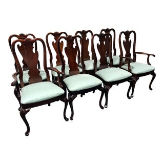 Thomasville Mahogany Collection Queen Anne Shell Dining Chairs- Set of 8