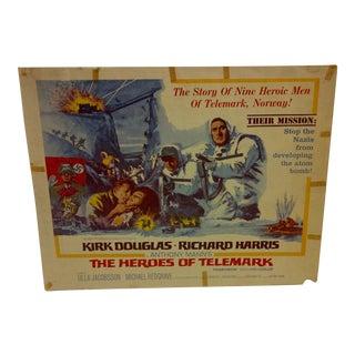 """Vintage Movie Poster """"The Heroes of Telemark"""" Kirk Douglas & Richard Harris - 1966"""