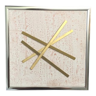 "Original Mixed Media Modernist Brass ""Pixie Stick"" Framed 3d Canvas Art"