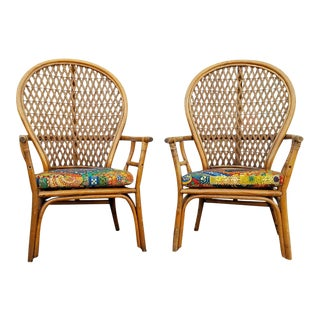 Vintage Peacock Wicker Chairs - A Pair