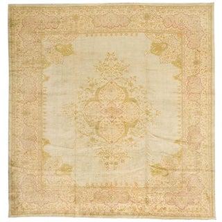 "Antique Borlu Oushak Carpet - 12'10""x 12'4"""